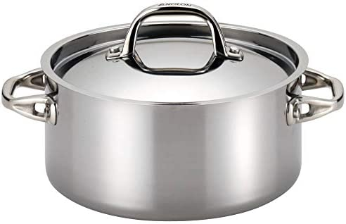 Anolon 30824 Tri-Ply Onyx Dutch Oven, 5-Quart, Stainless Steel