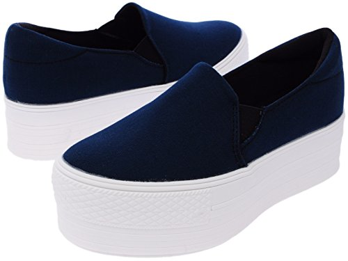 on Synthetic White Sneakers Cotton Slip Navy Platform 50 C7 F4WYzO5cfq
