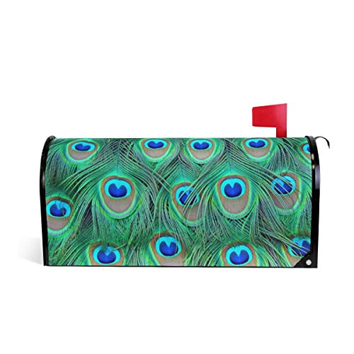 Green Peacock Feather Painting Mailbox Magnetic Cover Medium Large Capacity Post Box Covers