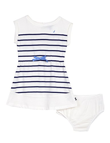 Nautica Baby Girls' Stripe Jersey Dress, Cream, 18 Months