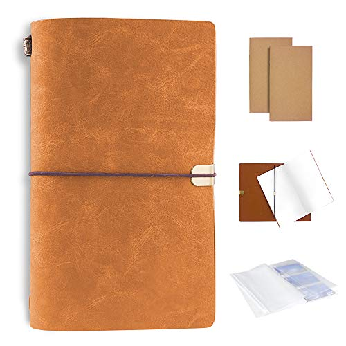 Handmade Multi Purpose Leather Travel Journal Notebook with Pouch Bags, Gift for Men or Women, Travelers, Business, 4.7x7.9 inches (Caramel)
