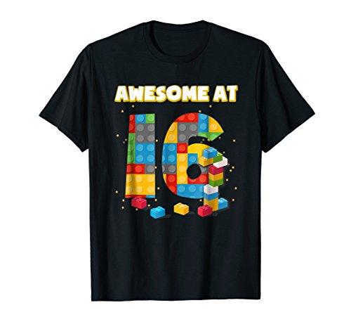 Birthday Shirt For Boys Age 16 Blocks Bricks Theme