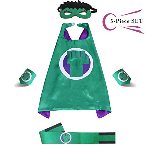 Superhero Dress Capes Set for Kids - Child DIY Superhero Themed Birthday Halloween Party Dress up 5-Pack Set (Hulk)