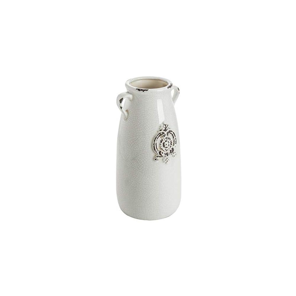 MyGift Farmhouse Style Antique White Ceramic Vase with Handle