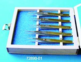 EMS 72890-01 Dumont Tweezers Set in Wooden Case, Set 1, Set of 5