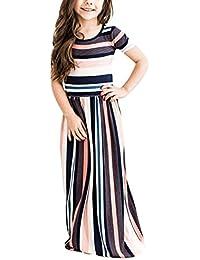 Girls Short Sleeve Stripe Dress Summer Long Maxi Dress Pocket