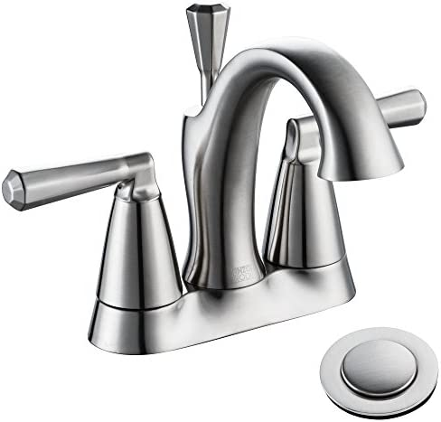 Enzo Rodi 4 Inch Bathroom Faucet Brushed Nickel Two Handle Centerset Bathroom Sink Faucet 3 Holes With Lift Pop Up Drain Assembly Erf2305338ap 10