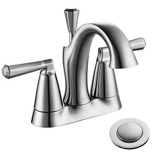 Brass 4 inch Center-set Bathroom Sink Faucet with Ceramic Valve and Full-copper Lift Pop-up Drain Assembly, Brushed Nickel PVD, ERF2305338AP-10 ()