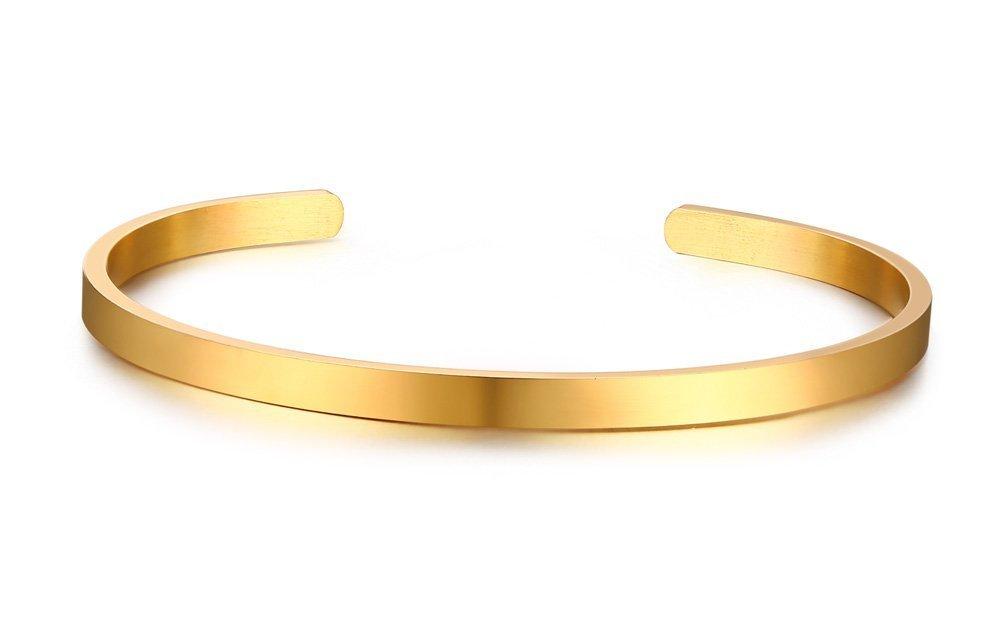 VNOX Customized Friendship Jewelry-4MM Stainless Steel Skinny Bar Cuff Bangle Bracelet,Inspirational Gift for Girl VNOX Jewelry B-304SET-KZ