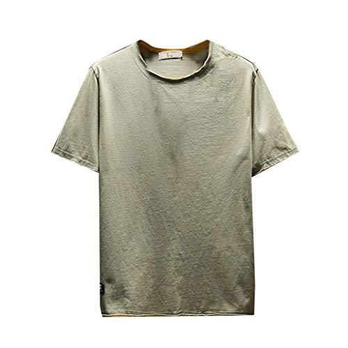 iYBUIA Men's Summer Lightweight Breathable Basic Paragraph T-Shirt Solid Color Simple O-Neck Short Sleeve Tops ()