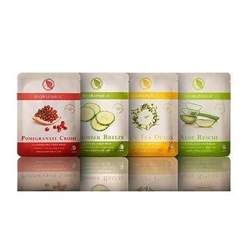 BioRepublic Skincare 8 Biodegradable Sheet Mask Skin Kit 2 of ea. Aloe, Cucumber, Green Tea, Pomegranate