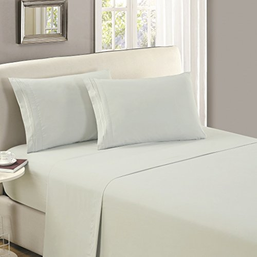 Mellanni Flat Sheet Queen Spa-Mint Brushed Microfiber 1800 Bedding Top Sheet - Wrinkle, Fade, Stain Resistant - Hypoallergenic - (Queen, Spa Mint)