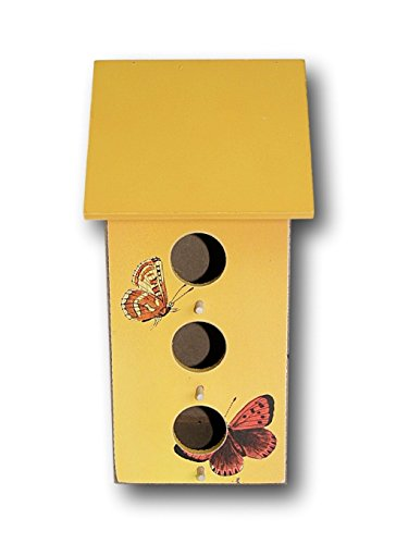 Yellow Wooden Birdhouse with Butterflies - 9