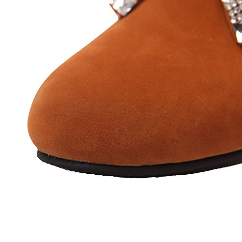 Allhqfashion Dames Laag Hakken Frosted Lage Laarzen Met Stevige Ritssluiting Bruin