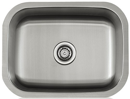 Lenova LS18304 Apogee 18-Gauge Stainless Steel Single Bowl Rectangle Under-Mount Kitchen Sink, 23-3 8 x 17-3 4-Inch