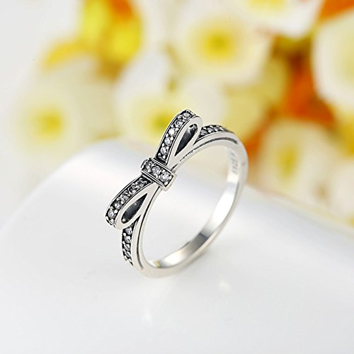 BAMOER 925 Sterling Silver CZ Gemstone Bow Promise Ring Infinity Romantic Love Jewelry for Women Teen Girls Stack Ring Size 6-9 (9) by BAMOER (Image #2)