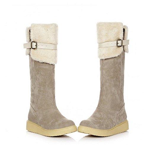 Beige Tassels Long Low Winter Snow Boots Heel Fashion Boots Womens 5g11xzS