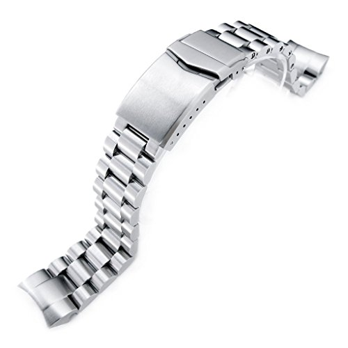22mm Endmill 316L SS Watch Bracelet for Orient Mako II & Ray II, V-Clasp Brushed