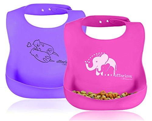 Price comparison product image Premium Platinum Silicone Bib. Set of 2 Baby Bibs. 100% Pure Platinum LFGB Silicone. NO fillers. NO Formaldehyde,  BPA,  BPS,  Phthalates,  VOCs. Organic Baby Safe. (Pink Elephant & Purple Otter)