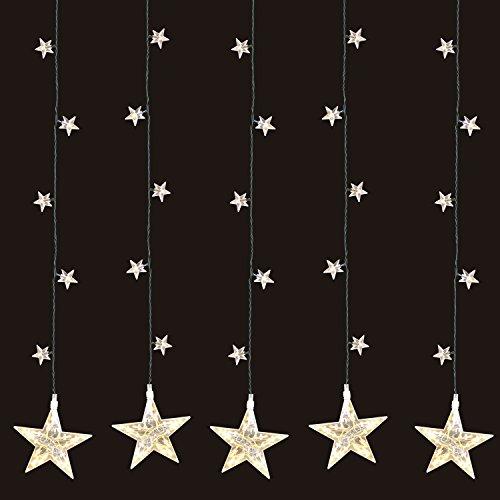 LED Sternenvorhang 105x100cm mit 100 LED-Lichter warmweiß weihnachtlicher Lichtervorhang Weihnachtsdekoration Dekoleuchte Dekolicht Lichterkette Stern