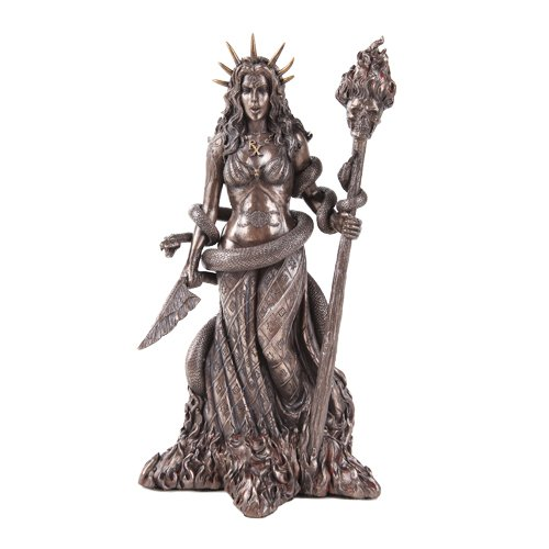 Greek Witchcraft Pagan Hecate Statue Bronze Patina