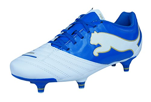 PUMA Powercat 3.12 SG Jr Boys Leather Soccer Boots/Cleats-Wh