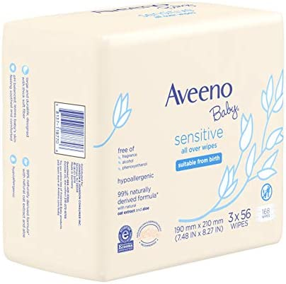 4152TA436DL. AC - Aveeno Baby Sensitive All Over Wipes With Aloe & Natural Oat Extract For Face, Bottom & Hands, PH-Balanced, Hypoallergenic, Fragrance-, Phthalate-, Alcohol- & Paraben-Free, 3 Pks Of 56 Ct