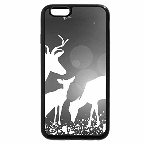 iPhone 6S Case, iPhone 6 Case (Black & White) - Deer Blue Winter