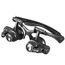 Kubert® Magnifying Glasses Loupe Magnifier 9892G 10X 15X 20X 25X LED Illuminated Double Eye Jeweler Watch Repair Magnifying Glasses Loupe Magnifier Kit