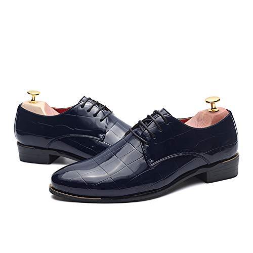 per verniciata cerimonia traspirante Stringate in abito EU Dimensione 40 e Scarpe Blu Blu 2018 Color pelle shoes nuziale in da pizzo un Basse Nuove da uomo confortevole Xujw scarpe PTq1x6n