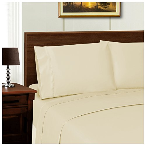 Superior 1000 Thread Count Silky Soft Tencel Blend Wrinkle Resistant, 2-Piece King Pillowcase Set, Solid Ivory