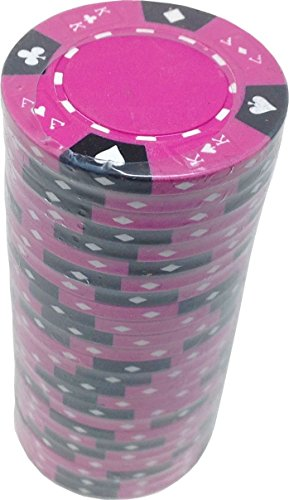 Poker Chips - (25) Pink Ace King 14 g Clay Composite