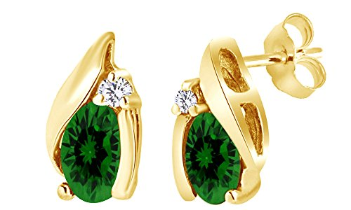 Oval Shape Simulated Green Emerald & White Diamond Stud Earrings In 10K Yellow (10k Yg Emerald)