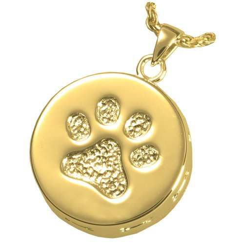 Memorial Gallery Pets 3807gp Paw Print and Bones 14K Gold/Sterling Silver Plating Cremation Pendant
