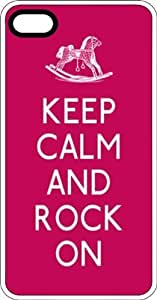 Keep Calm & Rock On with Rocking Horse White Plastic Case for iPhone 5 or iPhone 5s