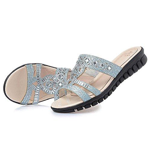 Sandales Compensées Femmes Btrada Été Anti-dérapant Fond Épais Diapositive Chaussures Bleu
