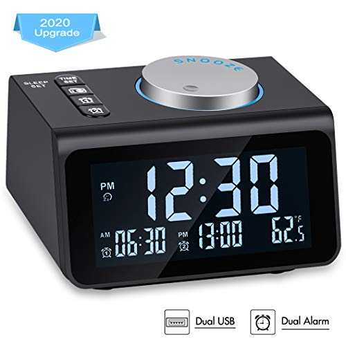 Small Digital Alarm Clock Radio - Dual Alarm, 7 Wake-up Sounds, Display Dimmer, 2 USB Charger, Sleep Timer, Easy to Set, Thermometer, FM Radio Clock w/Battery Backup for Bedrooms, Office, Desk, Travel