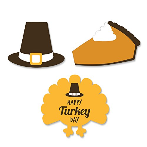 Big Dot of Happiness Happy Turkey Day - Thanksgiving DIY Shaped Party Cut-Outs - 24 Count