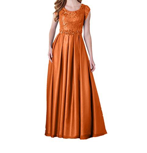 Charmant Damen Abschlussballkleider Langes Abendkleider Ballkleider Kurzarm Spitze Orange Festlichkleider Partykleider mit ggr4AnP