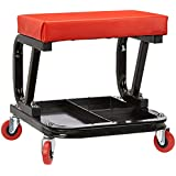 AmazonBasics Rolling Creeper, Garage/Shop Seat with 300-Pound Capacity - Red