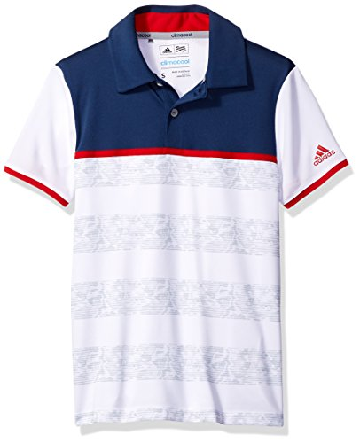 adidas Golf Boys Camo Stripe Polo Shirt, White, Large