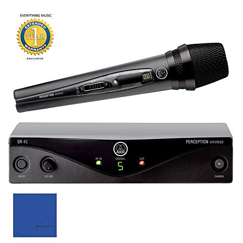 AKG Perception Wireless 45 Vocal Set Wireless Microphone System Band A with Microfiber and 1 Year EverythingMusic Extended Warranty