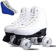 YYW Roller Skates for Women PU Leather High Top Roller Skates Shiny Light Up Four Wheels White Black Roller Sk