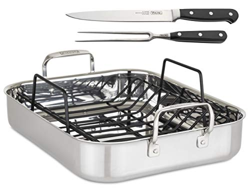 Viking Culinary 3-Ply Roasting Pan w/ Rack & Carving Set , 16″ x 13″ X 3″, Stainless Steel (4013-9902C)