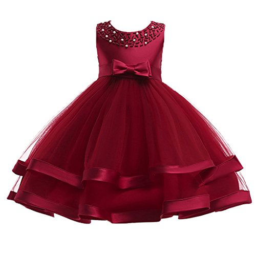 Satin Sundress - Little Girl Children Gown Frocks Dress Sundress for Kids Special Occasion Princess Ball Gown Tulle Party Casual kids Dress Summer Little Big Girls Dress Back Zipper 6-7 Years Burgundy