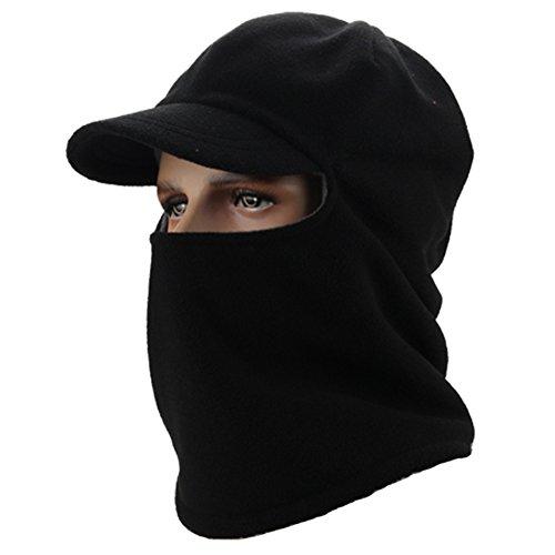 (Leories Winter Windproof Cap Fleece Balaclava Hooded Face Mask Neck Warmer Ski Hood Snowboard Mask Wind Protector Ski Hat Black)