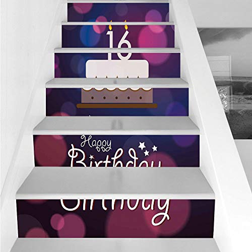 Stair Stickers Wall Stickers,6 PCS Self-adhesive,16th Birthday Decorations,Cake Candle Anniversary of Birth Best Wishes Young Image,Fuchsia Dark Blue,Stair Riser Decal for Living Room, Hall, Kids Room