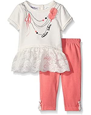 Baby Girls' Baby Lace Tee with French Terry Leggings