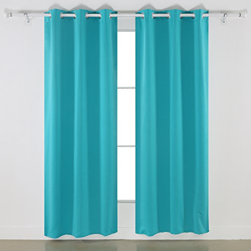 Deconovo Room Darkening Thermal Insulated Blackout Grommet Window Curtain Panel For Bedroom, Turquoise,42x84-Inch,1 Panel