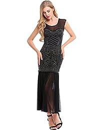 Meaneor 1920s Vintage Beaded Embellished Fringe Long Gatsby Party Flapper Dress